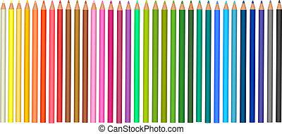 pencils., グループ, 有色人種, vector.