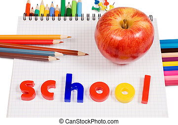 Pencils and apple - concept school