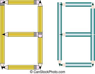 Pencils and Colored Pencils Font Set Letter B