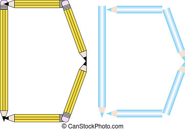 Pencils and Colored Pencils Font Set Letter D