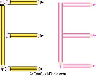 Pencils and Colored Pencils Font Set Letter E