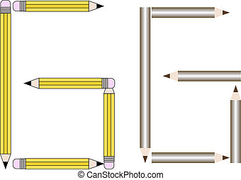 Pencils and Colored Pencils Font Set Letter G