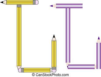 Pencils and Colored Pencils Font Set Letter J