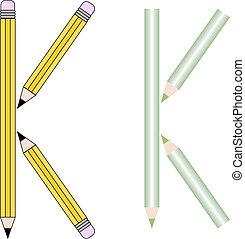 Pencils and Colored Pencils Font Set Letter K