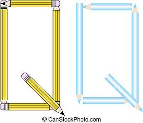 Pencils and Colored Pencils Font Set Letter Q