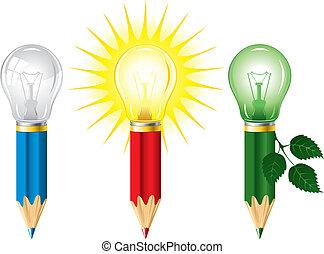 Pencils and light bulbs - Set of pencils and light bulbs, ...