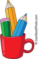 pencils and mug