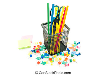 stickers and other office stationery on white background
