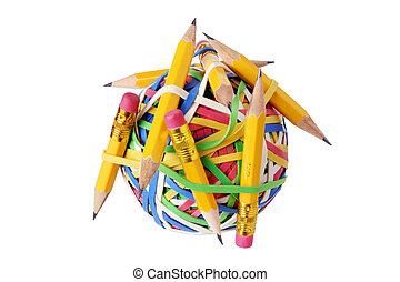 Pencils and Rubberband Ball on White Background