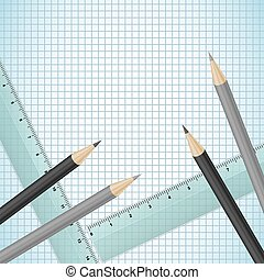 Pencils and rulers on checked paper