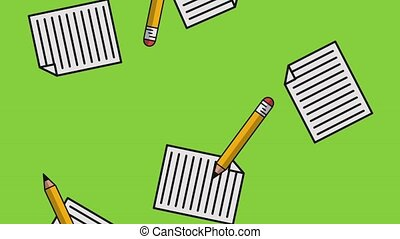 Pencils and sheets HD - Pencils and sheets falling down over...