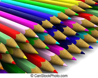 Pencils. background. 3d