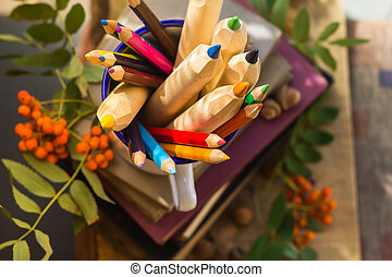 Pencils books concept back school