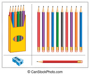 Pencils, Box, Sharpener - Box, multicolor pencils, sharpener...