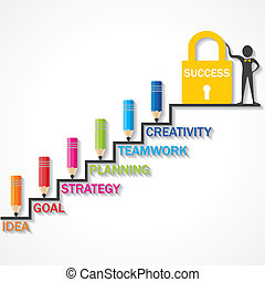 Pencils climb up success stair