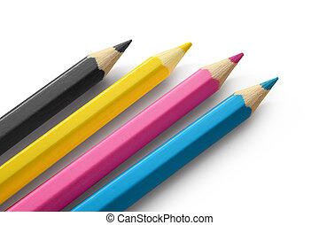 Pencils cmyk colors