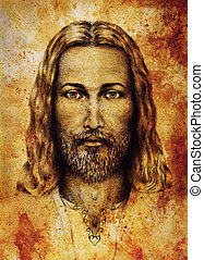 pencils drawing of Jesus on vintage paper. with ornament on...