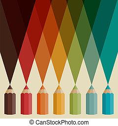 pencils., färbte hintergrund, kreativ
