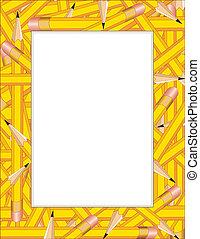 Pencils Frame - Pencil Frame, colorful border of sharpened...