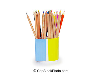 pencils in holder isolated on white background