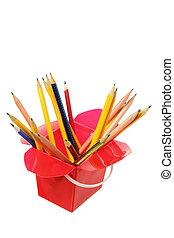 Pencils in Plastic Box