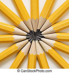 Pencils in star shape. - Sharp pencils arranged in a...