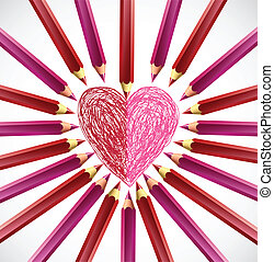 Pencils in the shape of heart. Vector