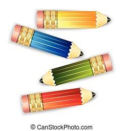 Pencils isolated on white background.