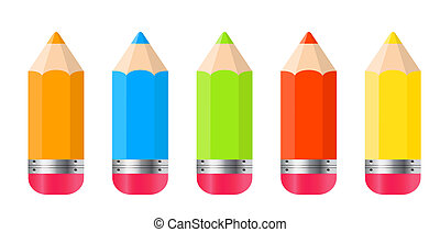 Pencils Isolated on White Background Vector Illustration