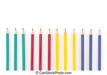 Pencils isolated on white background with copy space.