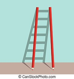 Pencils ladder of success