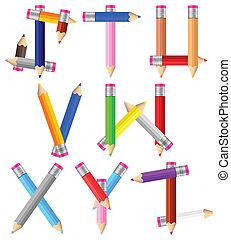 pencils letter S-Z
