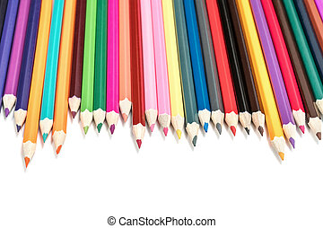 Pencils lined up in a row