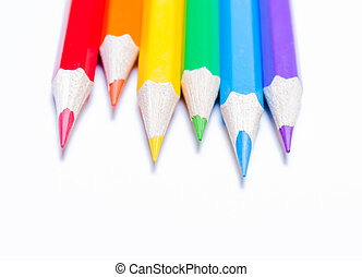 Pencils of rainbow colors