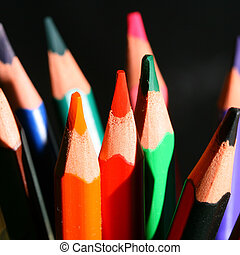 pencils on black - colour pencils on black macro close up