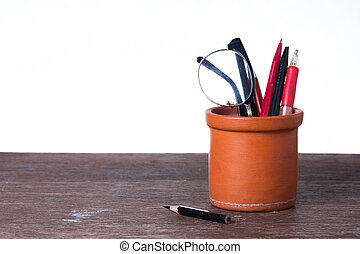 Pencils on wooden table, Still life