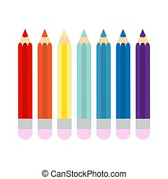 Pencils painted in different colors on white background. Flat vector illustration.