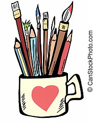 Pencils, pens and brushes to paint the ceramic cup