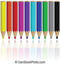 pencils reflected against white background, abstract vector...