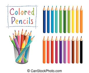 Pencils Set, Multi color, Desk Organizer