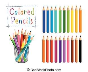 Pencils Set, Multi color, Desk Organizer