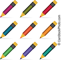 Pencils set. Vector illustration.