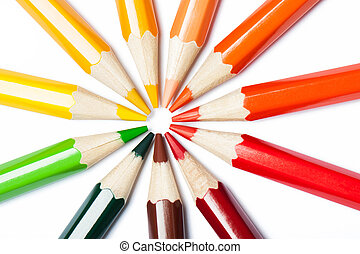 Pencils stacked in a circle