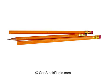 Three pencils one sharpened, isolated on white.