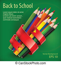 Pencils tied with ribbon on green - Colored wooden pencils...