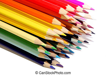 pencils varicoloured on the white background