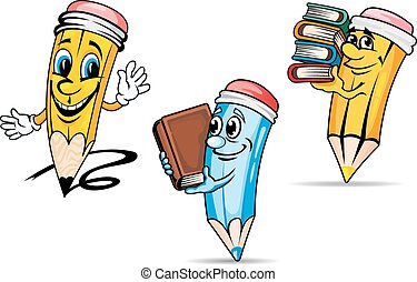 Pencils with books cartoon characters