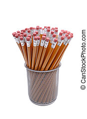 Pencils With Erasures - Container Full Of Pencils, Isolated...