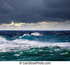 pendant, élevé, vague, mer, orage