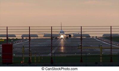 pendant, avion, fermé, prend, sunset.